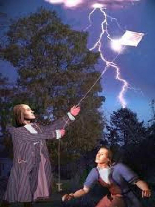 Franklin and his famous kite experiment