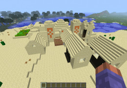 Minecraft desert 1.3.2 npc village with desert temple.