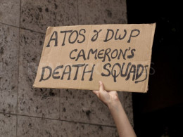 Protest against DWP & ATOS Healthcare's government disinformation campaign.