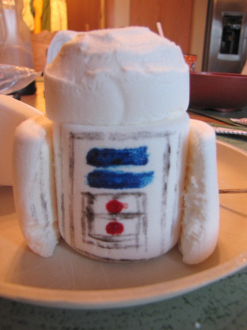 Take some food coloring gel (or other edible decorating items) and draw mechanical parts on R2D2.