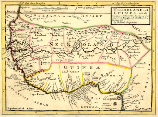 A 1729 map, showing the Slave Coast
