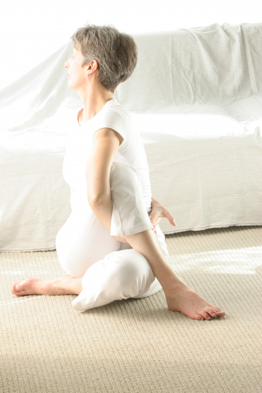 Ardha Matsyendrasana, or Seated Half Twist, wrings out the spine and organs like a sponge.  Releasing tee twist floods the tissues with fresh, oxygenated blood to flush away toxins and cleanse.