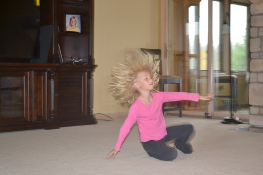 My daughter's hair raising gymnastics display