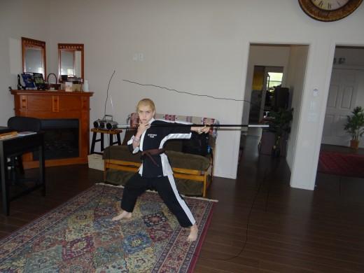 ahhh..ya..chop..chop...1st degree black belt..