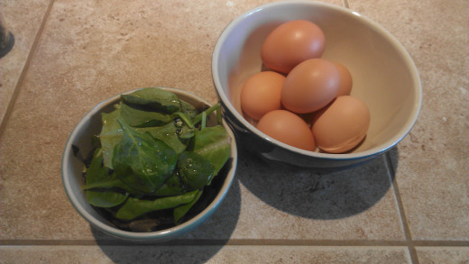 Fresh, organic spinach and eggs for mini quiche recipe