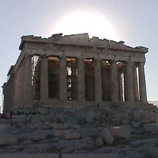 The Parathenon in Athens,Greece was photographed by the author at sunset in September 2001.