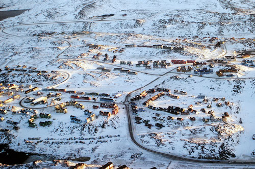 Kaare Sorensen from Denmark took this aerial photograph of Nuuk, Greenland in December 2004.