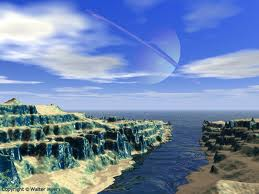 valleys and water bodies of earthlike planet