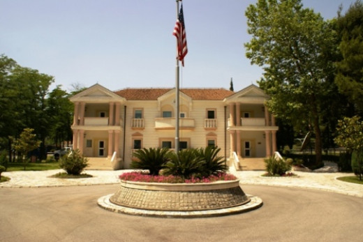 This photograph of the United States embassy in Podgorica, Montenegro is a work of a United States Department of State employee, taken or made during the course of an employee's official duties. As a work of the U.S. federal government, the image is