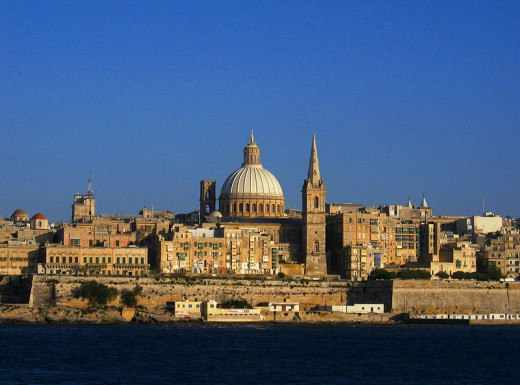 The Valletta, Malta skyline was photographed by Briangotts on May 7, 2005.
