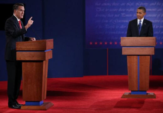 Mitt Romney & President Obama in 1st debate