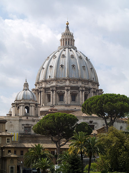 The dome of St. Peter's Basilica, seen from a gallery in the Vatican Museums, in Vatican City, Vatican City was photographed by Myrabella on August 3, 2009,