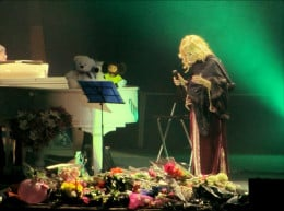 Lara Fabian savoring the flowers and gifts given by fans during her concert in Dnepropetrovsk, Ukraine. October 25th, 2012