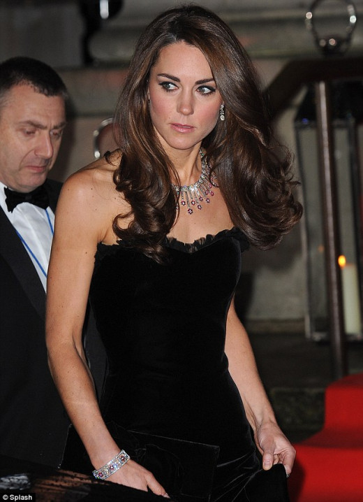 Kate Middleton wearing vintage diamond & rubies.