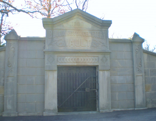 Bloomington Cemetary (now Evergreen Cemetary) vault, used for storing bodies for burial during frozen ground months.