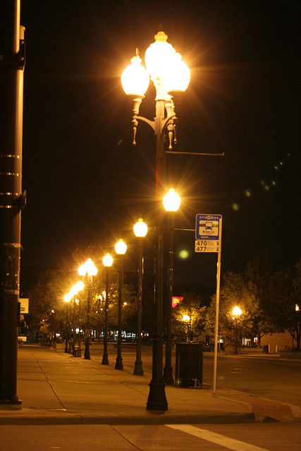 Glare from poorly-designed street lighting in Bountiful, Utah, USA.