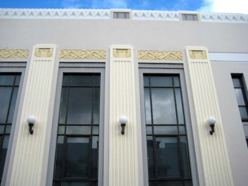 Stripped Classical Style building with Maori Motifs, ASB Bank building, Napier, New Zealand.