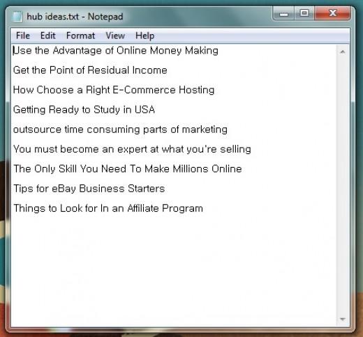 My hub ideas list