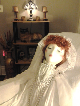 Shelly's bridal costume, with my Lucy wig.