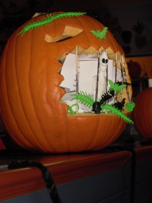 Jack O'Lantern jail is getting most of the customer's votes at Cora's Breakfast place in Kamloops, British Columbia.