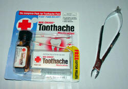 Clove oil package for tootache at pharmacy