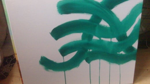 The drips of green help provide an accidental happy painting moment.