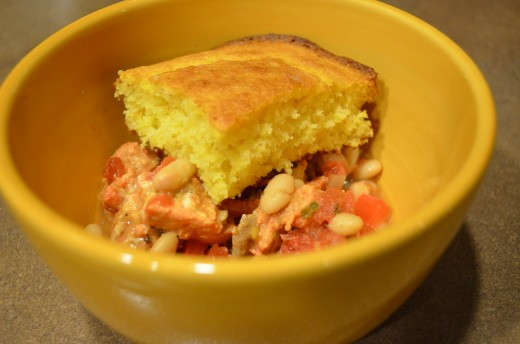 Salmon fillet white bean chili goes great with homemade cornbread.