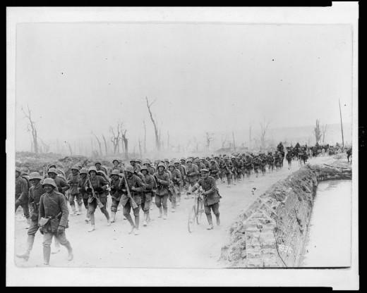 German soldiers marching toward Albert, France
