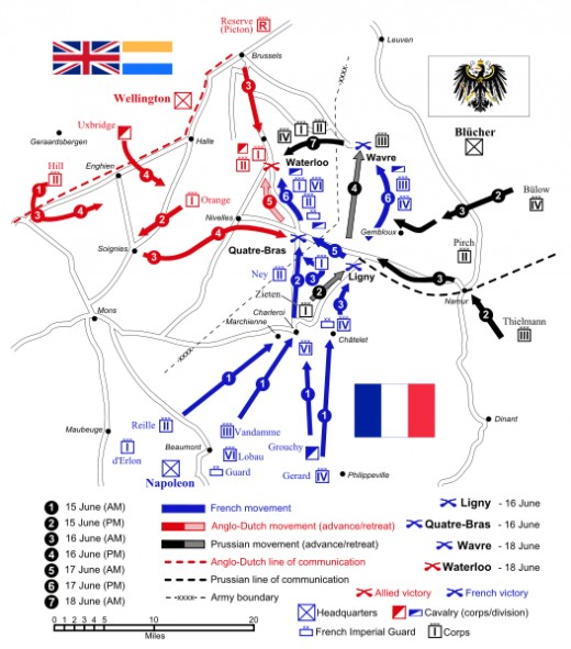 A map of the battlefield at Waterloo.