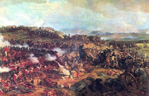 French curirassiers charging into perfectly formed British squares during the Battle of Waterloo.