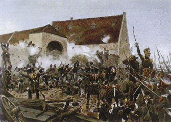The French storming La Haie Sante, which was a crucial position at the centre of Wellington's position.
