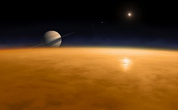 Saturn above the thick atmosphere of its moon Titan