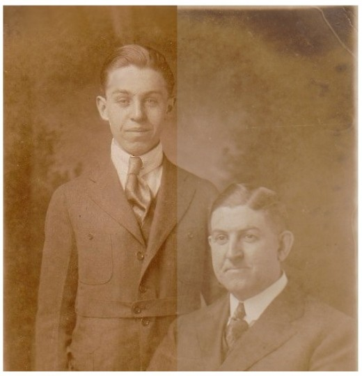 My Grandfather & Great Grandfather Gormley Left Side Touched Up W/GIMP; Right Side Original