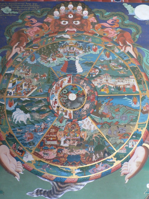 A painting of the bhavacakra in Sera Monastery, Tibet