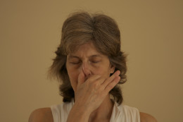 Block the right nostril with the right thumb. Exhale through the left nostril.  then inhale through the left nostril.