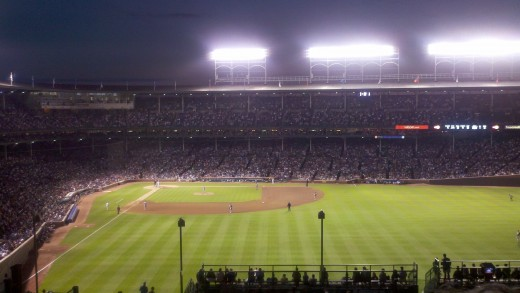 Night Game View from a Rooftop Across the Street from Wrigley Field