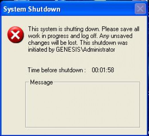 The Shutdown box appears counting down the remaining time
