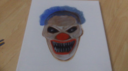 Blue hair wig wash and red Clown lips