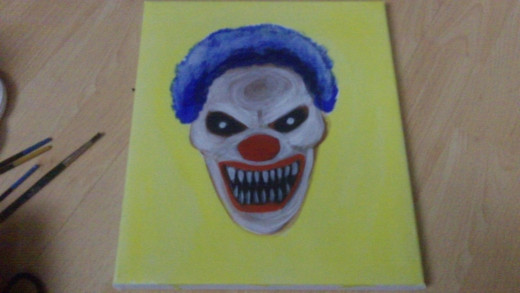 A watered down Yellow wash for the background and Demon Clown ----Boo!