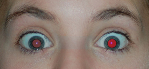 The dismal results of the Lunapic program for red eye removal.  Tests were done with only one eye.