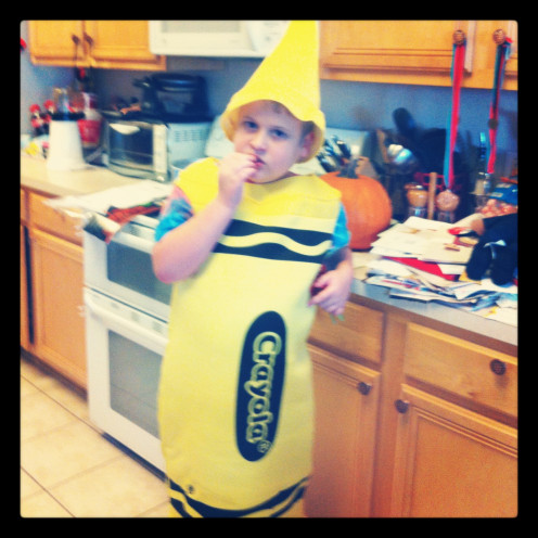 My son practicing for Halloween in his costume.