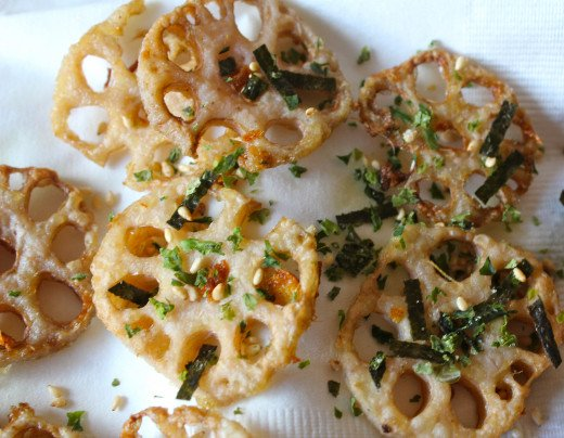 These loopy looking lotus root chips are a crunchy, delicious, healthy snack.