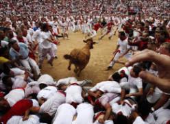 The running of the men, Pomplona Spain