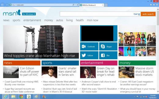 The Internet Explorer 10 home screen.