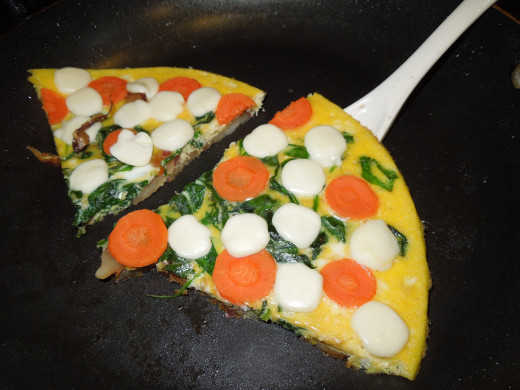 Egg Frittata with spinach, carrot, potato and cheese