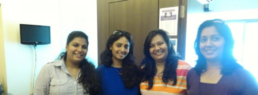 From left to right: Jacqeline Almeida, Payal, Hemali Punjabi and me - rare moment with Payal and her team