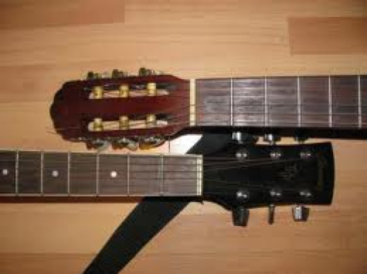 A classsical and steel string guitar side by side. the Classical neck is noticably wider.