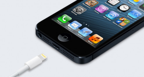 "Apple iPhone 5 and its new smaller proprietary ""Lightning"" connector"