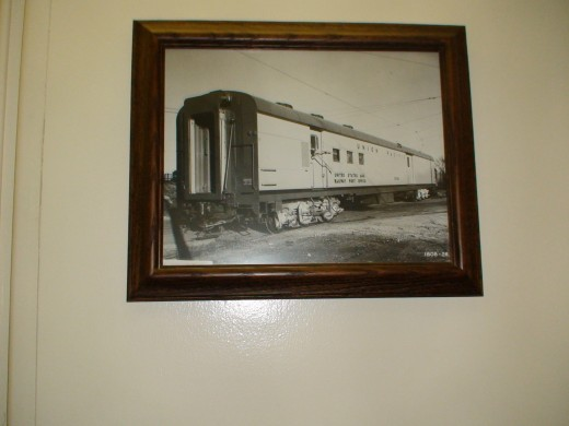 The museum car contains all kinds of phots from the UP Railroad's history.