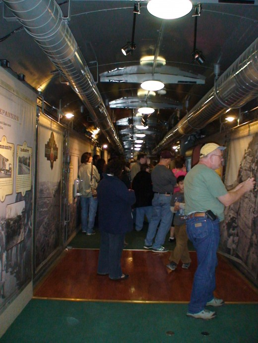 The museum car also includes some interactive exhibits and videos.
